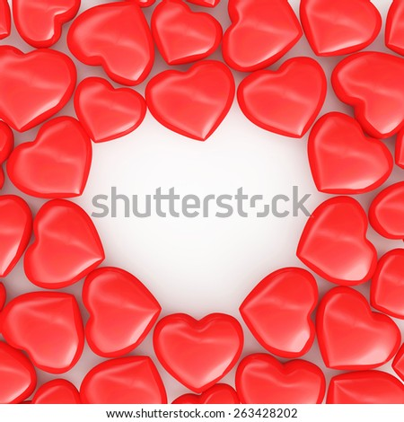 Abstract background of heap of red hearts with copy space. Happy Valentine's Day or Love concept - stock photo