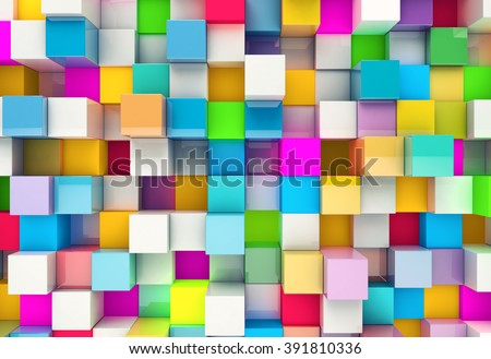 Abstract background of multi-colored cubes - stock photo
