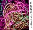 Abstract background of multi-colored needlecraft embroidery threads - stock photo
