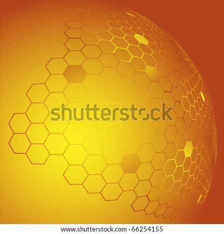 Abstract background of orange color with the image honeycombs in the form of a hemisphere