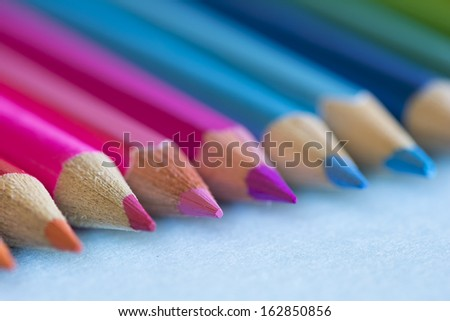 Abstract background of pencils with extremely shallow dof. Selective focus..  - stock photo