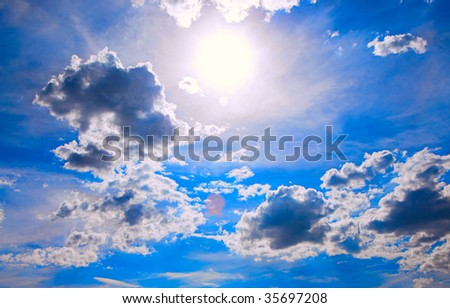abstract background of sky and sun - stock photo