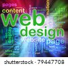 Abstract background of words in a wordcloud of web design. Concept of web designing. - stock photo
