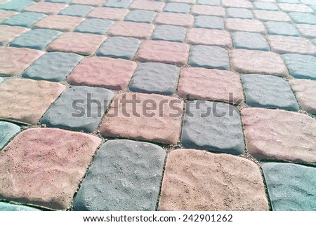 Abstract background old stone road cobblestone texture. - stock photo