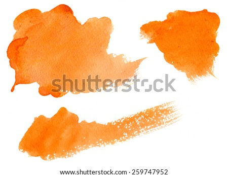 Abstract background, orange watercolor stains on paper texture isolated - stock photo