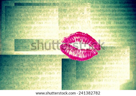 Abstract background pink lipstick kiss - stock photo