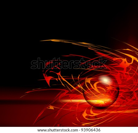 Abstract background - red horizon - fire template with sphere - space design - stock photo