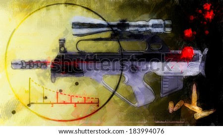 abstract background - rifle with optical sight - stock photo