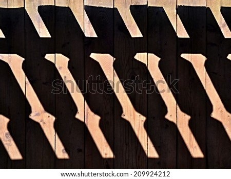 abstract background shadow railings on the old wooden floor