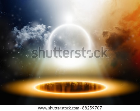 Abstract background - shining sphere in dark sky - stock photo