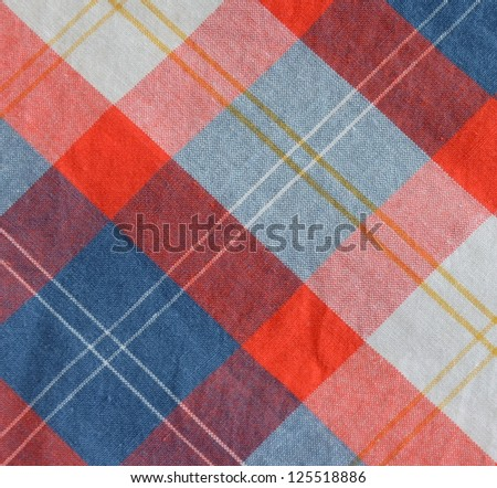 Abstract Background Texture Of A Red, Blue And White Checkered Table Cloth - stock photo