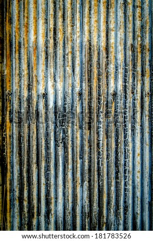 Abstract Background Texture Of Corrugated Iron With Peeling Paint - stock photo