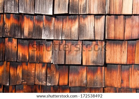 Abstract background textured of aged wooden shingles - stock photo