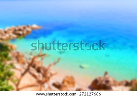 Abstract background - tropical beach - blur effect applied with super saturated colors - stock photo