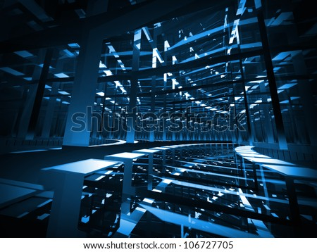 Abstract background: turning dark blue mirrored futuristic tunnel with lights and reflections. 3d render illustration.