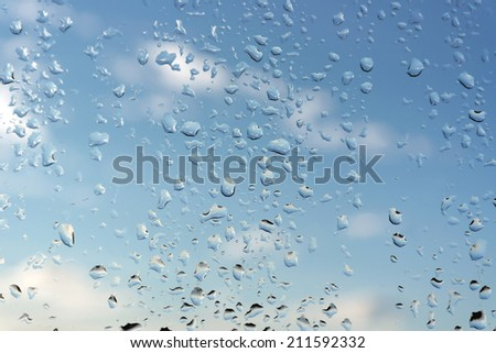 Abstract background, water drops on a window glass, rainy day