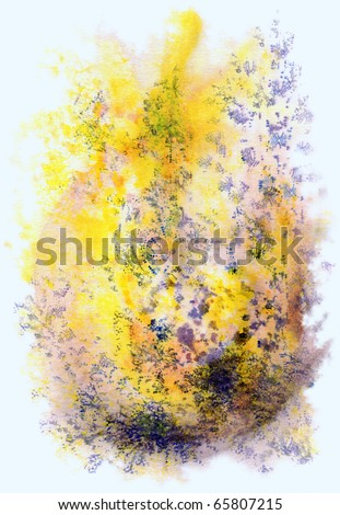 Abstract background, watercolor, beautiful hand painted on a paper. Yellow, blue, violet - stock photo