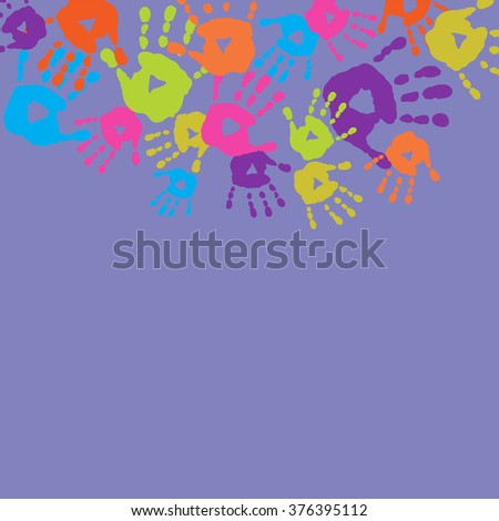 Abstract background with a children's handprints - stock photo