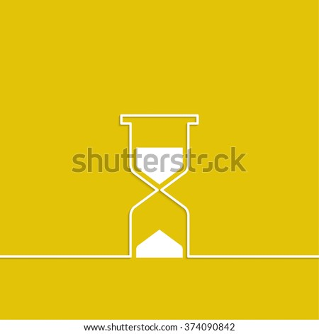 Abstract background with an hourglass from ribbon. Sand clock icon. Glass timer symbol. The concept of time is not forever