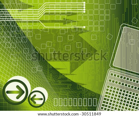 Abstract background with arrows and laptop