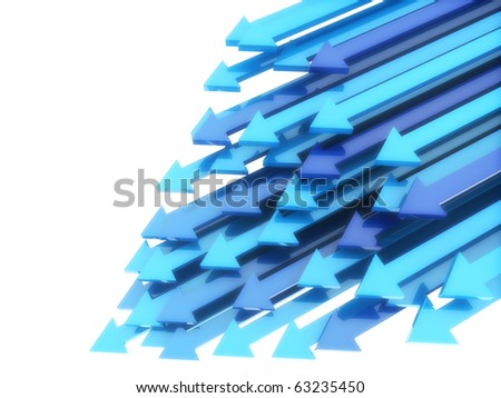 Abstract background with blue diagonal arrows in motion on white - stock photo
