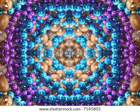 Abstract Background with Blue,  Purple and Gold Beads - stock photo