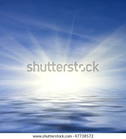 Abstract background with blue sky and water reflection