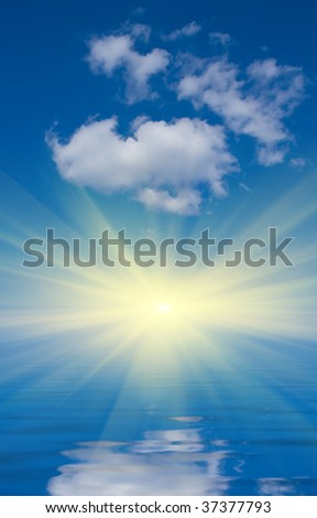 Abstract background with blue sky, sunshine and water reflection