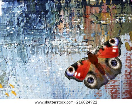 Abstract background with butterfly. Oil paints on canvas - stock photo