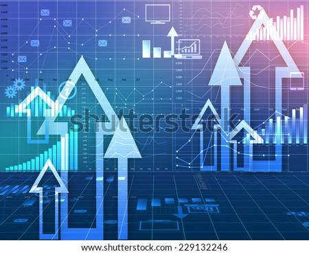 abstract background with charts and information icons