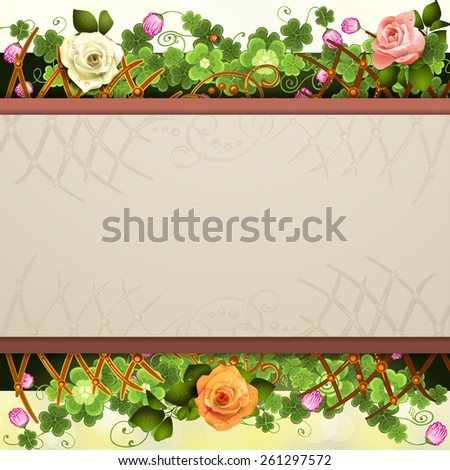 Abstract background with clover - stock photo