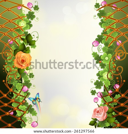 Abstract background with clover and roses - stock photo