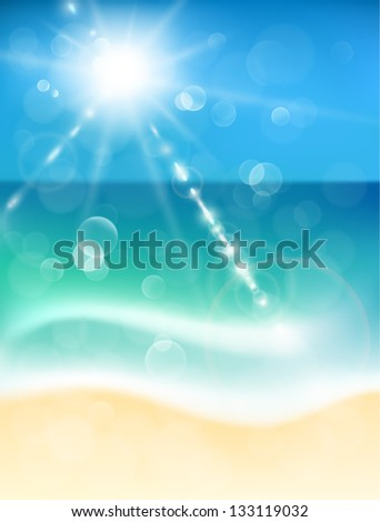 Abstract background with coastline and sunshine - raster version - stock photo