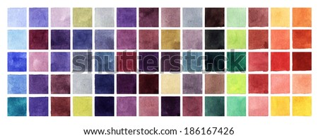 Abstract background with colored watercolor squares - stock photo