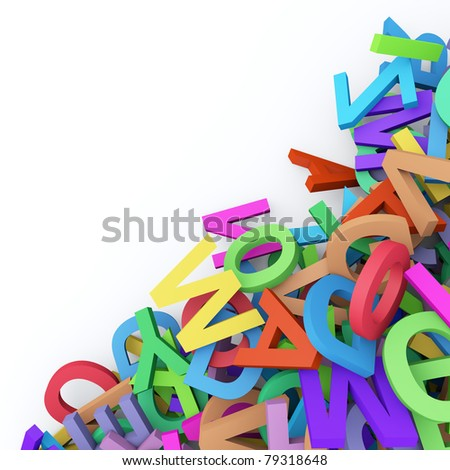 Abstract background with colorful alphabet