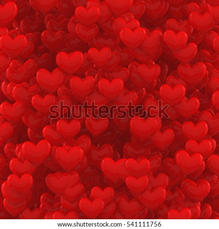 Abstract Background with 3D Red Hearts. 3D Rendering for Valentines Day