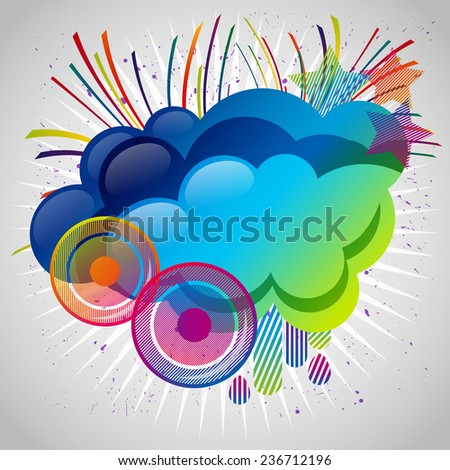 Abstract background with design elements. Cloud for your text, stars, speakers, raindrops.  - stock photo