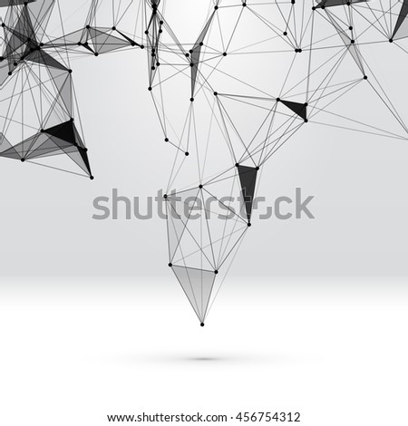 Abstract background with dotted grid and triangular cells - stock photo