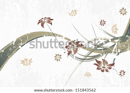 Abstract Background with flowers and waves for your design