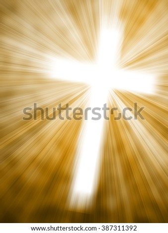 Abstract background with glowing cross and light rays - stock photo