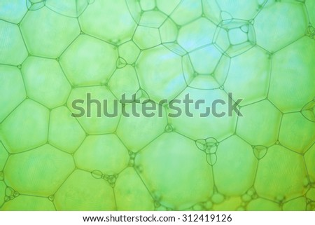 Abstract background with hexagonal geometric shapes. Soap bubbles extreme closeup. - stock photo