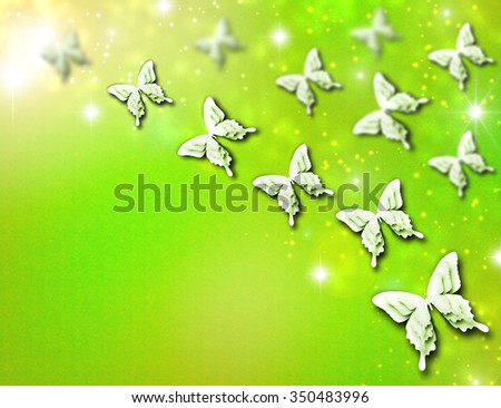 Abstract background with many beautiful butterflies. Butterflies paper-cut technique flying to the sun. Green sunny spring summer day and joy in the air. Spring lights, yellow star dust and sparkles. - stock photo