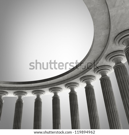 abstract background with Old columns is ancient style. High resolution Realistic 3D illustration