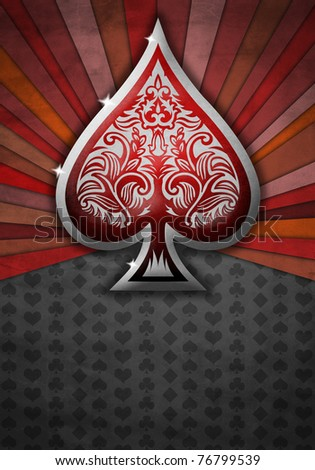 Abstract background with poker spade - stock photo