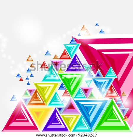 Abstract background with pyramid 3d illustration - stock photo