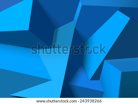 Abstract background with realistic overlapping blue cubes - stock photo