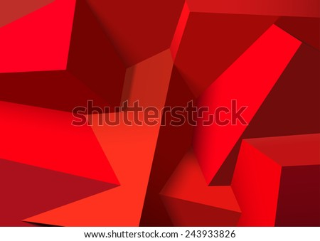 Abstract background with realistic overlapping red cubes - stock photo