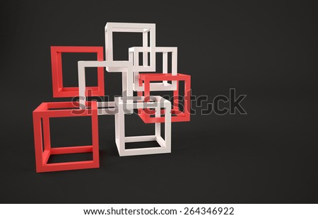 Abstract background with red and white cubes. - stock photo