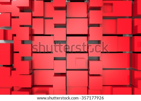 Abstract background with red cubes