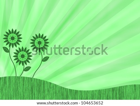 Abstract background with retro flowers and a sunburst - stock photo